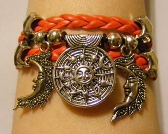 Sun, moon, and stars bracelet; sun, moon, and stars jewelry; celestial bracelet, celestial jewelry, cosmic bracelet, cosmic jewelry