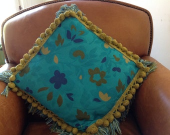 Turquiose Throw Pillow with Avocado Green Ball Trim Vintage