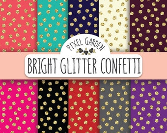 70% OFF SALE. Gold Glitter Confetti Digital Paper Pack. Coral, Turquoise, Navy Glitter Polka Dot Scrapbooking Paper. Black and Gold Paper.
