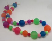 Neon Rainbow Bubblegum Necklace Jewelry-Big Bead Chunky Childrens Necklace-Photo Prop-