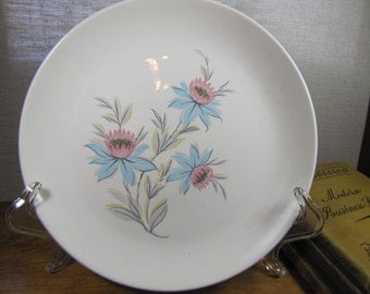 Vintage Steubenville Pottery Dinner Plate - Fairlane Pattern  - Pink and Blue Flowers