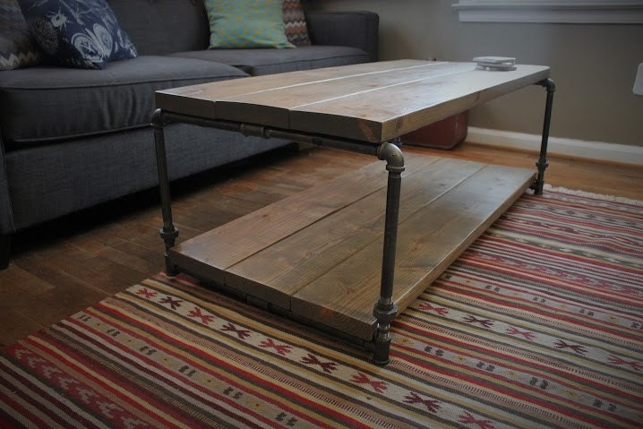 Industrial coffee table rustic living room table plumbing for Industrial farmhouse coffee table