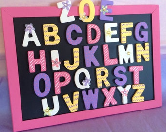 Magnetic chalkboard with complete set of alphabet magnets; ABC magnets; personalized magnetic chalkboard; Magnet letters; Kids gifts