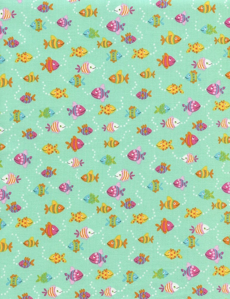 Fish fabric childrens fabric diving divas fish by for Childrens cotton fabric by the yard