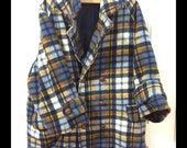50% OFF Vintage Navy Blue and Gold Cotton Car Coat with Leather Buttons S/M