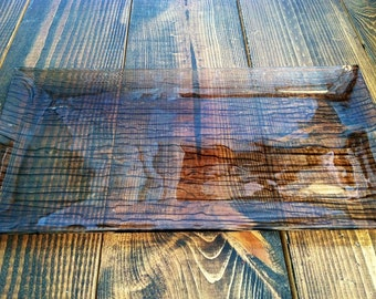 Vintage Faux Wood Grain Glass Serving Tray