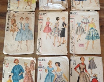Nine 50s Dress Patterns Various Sizes and Condition