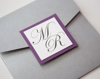 Purple and Grey Monogram Wedding Invitations