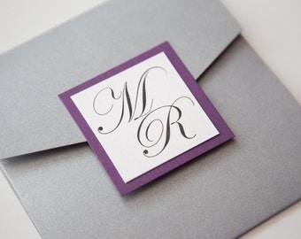 Purple and Grey Monogram Wedding Invitations