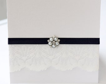Lace Pocketfold Invitation with navy Ribbon