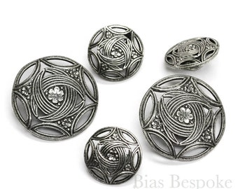 Sets of Intricate Silver Buttons in Two Sizes, Made in France