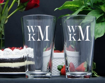 Personalized Beer Glasses / Monogram Glasses / Etched Glasses / Custom / 16 Designs! / Select ANY QUANTITY