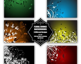 INSTANT DOWNLOAD - Collection of digital backgrounds with 6 different floral abstract designs