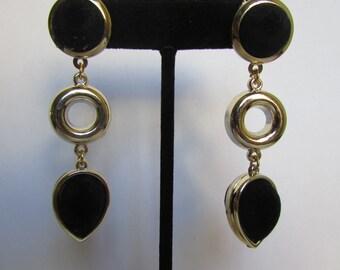 Vintage earrings- Black faux suede drop earrings- 90s Jewelry