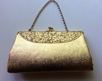 Retro Goldtone Clutch Evening Bag with Chain