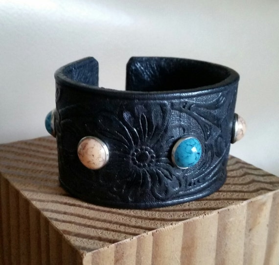 """PETITE STUDDED CUFF Tooled Embossed Black Leather Bracelet with Turquoise, Coral Studs. For 5-1/2"""" Wrist. Hook Clasp. Womens Girls Floral"""