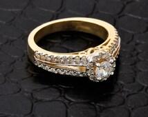 Gold Halo Diamond Solitaire Split Band Engagement Ring - Yellow Gold Halo Engagement ring 14k Yellow / White / Rose Gold  - Halo setting