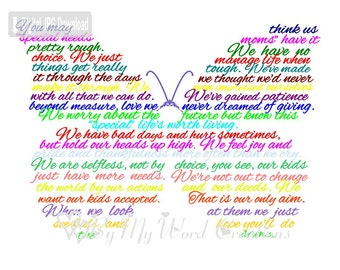 Special Needs Mom, Special Needs Mother Poem Word Art, Mother Butterfly Poem, Mother Keepsake, Word Art Typography, PRINTABLE DIGITAL FILE