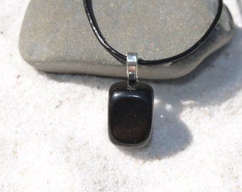 Apache Tears Stone on a Leather Cord Necklace