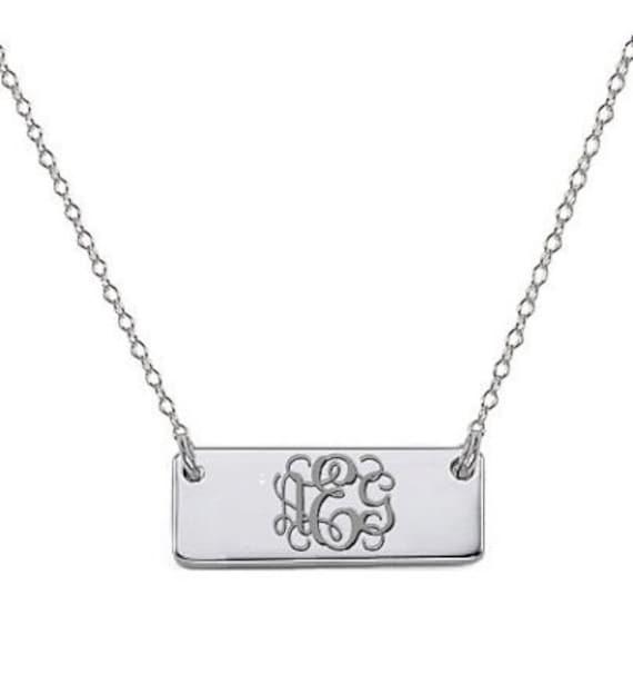 14k white gold monogram bar necklace tiny pendant select any. Black Bedroom Furniture Sets. Home Design Ideas