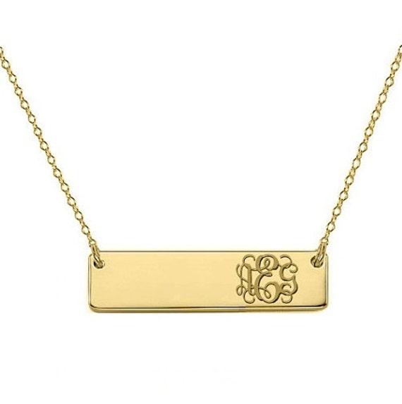 monogram necklace bar 14k solid gold pendant side initials