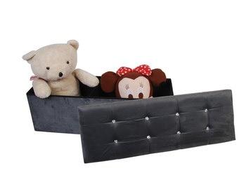X Large Grey Velvet Ottoman Foot stool pouffe storage box