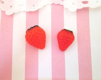 Cute Strawberry Kawaii Cabochons, Cute Fruit Decoden Cab, #801a, #801b