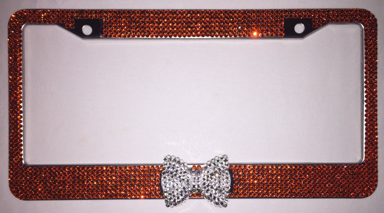 Orange Crystal Rhinestone License Plate Frame Holder With