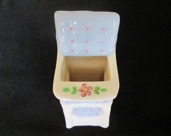 Vintage Brock Pottery California Baby High Chair Blues and Pinks Planter Vase