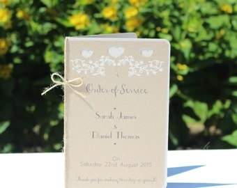 Rustic white floral order of service - Wedding booklet