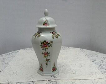 Vintage Ginger Jar Vase Floral Design Lichte Germany