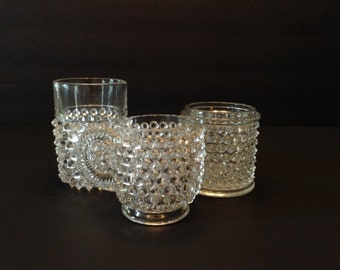 Hobnail Cup Vase and Dish Set of Three Clear Glass