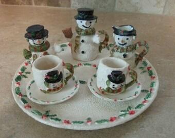 Mini Snowman Tea Set