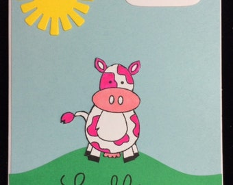 Hello Baby Cow Greeting Card