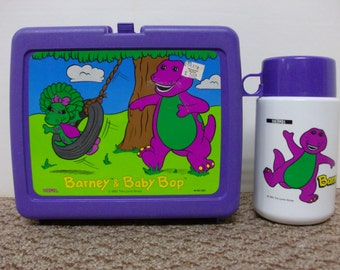 Barney & Baby Bop Lunchbox and Thermos 1992