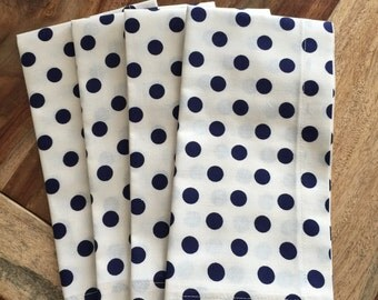 Navy and off white Dot Napkins- Fourth of July (set of 2 or 4)