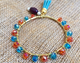 The Florida Gator Bangle, Gold or Silver Wire Wrapped Orange and Blue Beaded Bangle Bauble Bracelet
