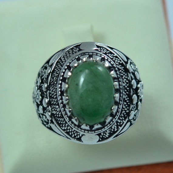Sterling Silver Natural Berly Emerald Green Men Ring Antique