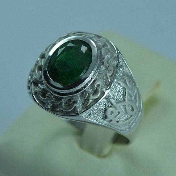 Sterling Silver 925 Natural Emerald Men Ring Islam Shia