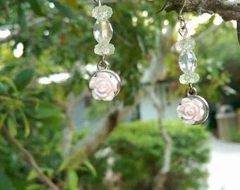romantic light baby pink rose dangle earrings
