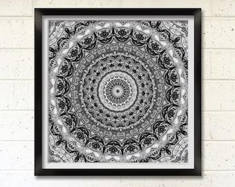 Black and White Mandala, Printable Art, Geometric Digital Print, Wall Decor, Meditation Art, New Age Art, Australia