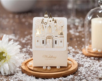 25 Wedding Gift Card Boxes, Sweet Candy Party Favor Box (Castle - Champagne Color)
