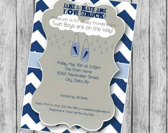 Baby Shower Twins Invite - Boy Twins  - DIY Printable File