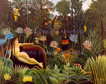"""Henri Rousseau """"The Dream"""" c1910 Goddess on Couch in Jungle Birds Lion Plants Animals Reproduction Digital Print  Wall Hanging"""