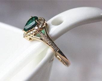 Treated Emerald 14K Yellow Gold Pave .2ctw Diamond Ring/ Engagement Ring/ Wedding Ring