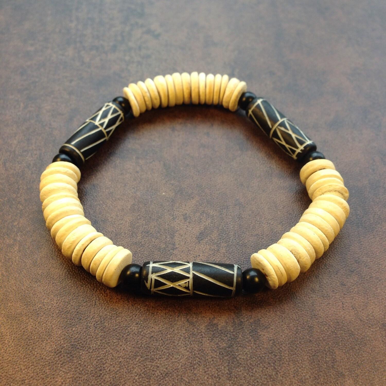 bone and wood bead bracelet men 39 s bracelet women 39 s. Black Bedroom Furniture Sets. Home Design Ideas