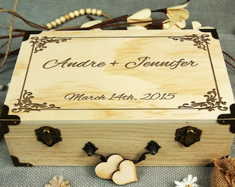 Alternative wedding guest book, Personalized Wedding-Anniversary-Bridal shower guset book, Custom gift, Memory box, Rustic wedding decor