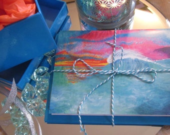 Twilight Dreaming abstract art 3 card pack in blues and pinks