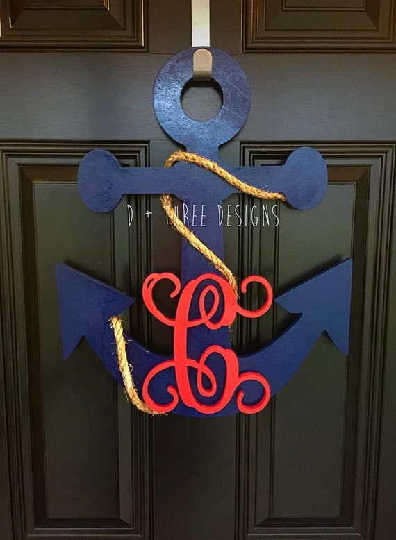 20 Inch Painted Wooden Anchor Personalized Monogram