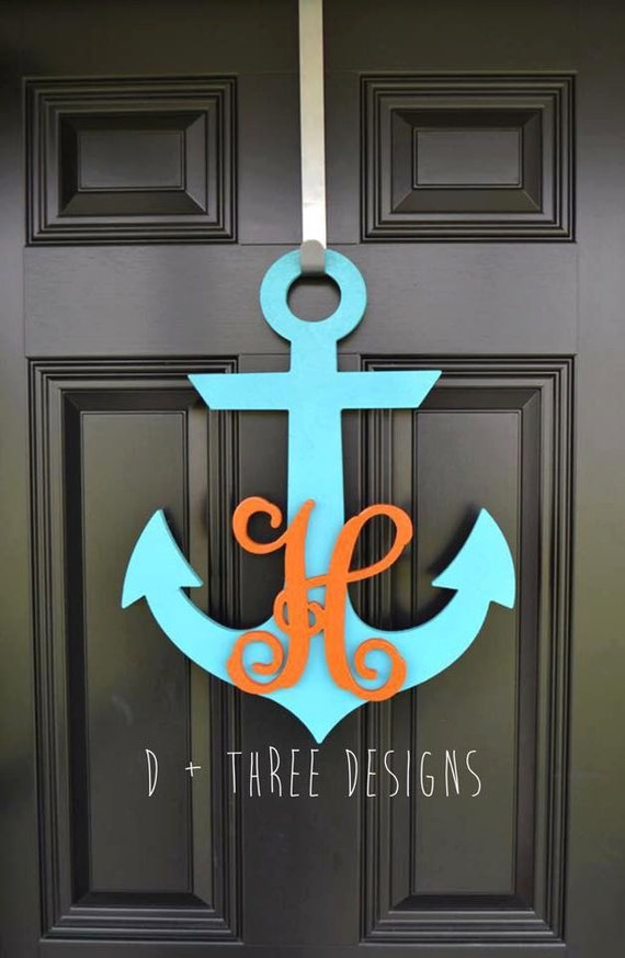 20 inch painted wooden anchor personalized monogram for Anchor door decoration
